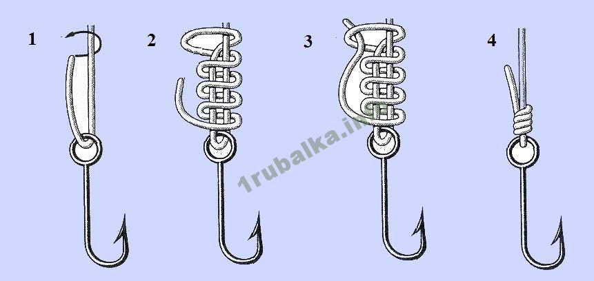 как привязать леску к крючку Акульим узлом