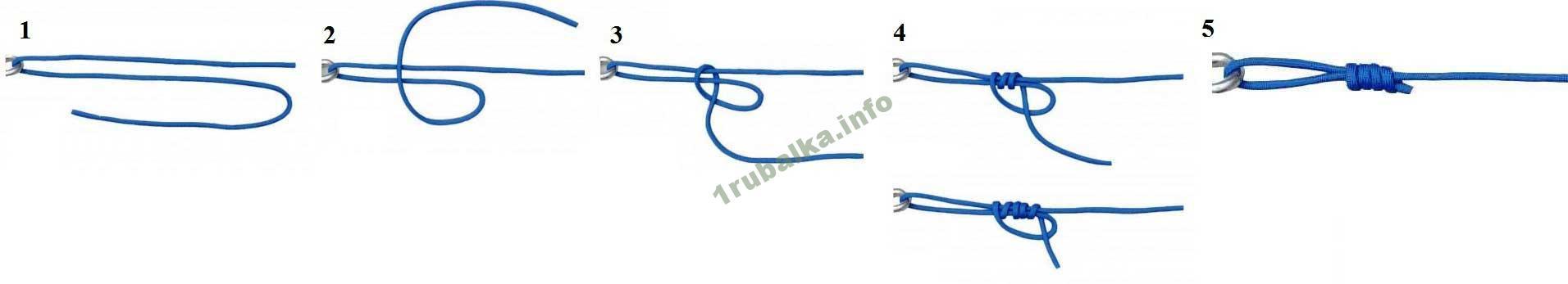 как привязать леску к крючку узлом Дункан