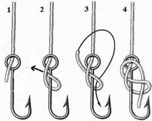 как привязать леску к крючку