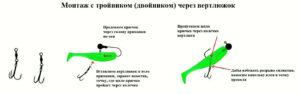 как насадить силиконовую приманку с двойником